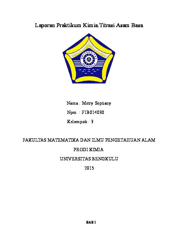 Doc Laporan Praktikum Titrasi Asam Basa Metry Septi Academia Edu