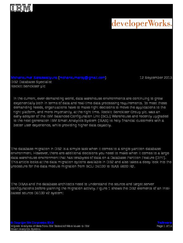 PDF) DB2 Database Migration | Mohankumar Saraswatipura