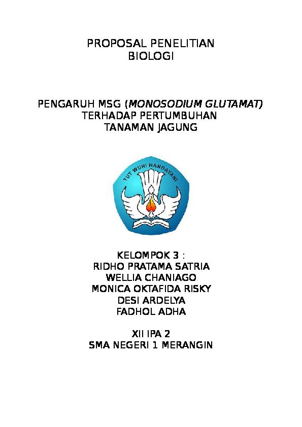 Doc Proposal Penelitian Biologi Pengaruh Msg Monosodium Glutamat Terhadap Pertumbuhan Tanaman Jagung Ridho Satria Academia Edu
