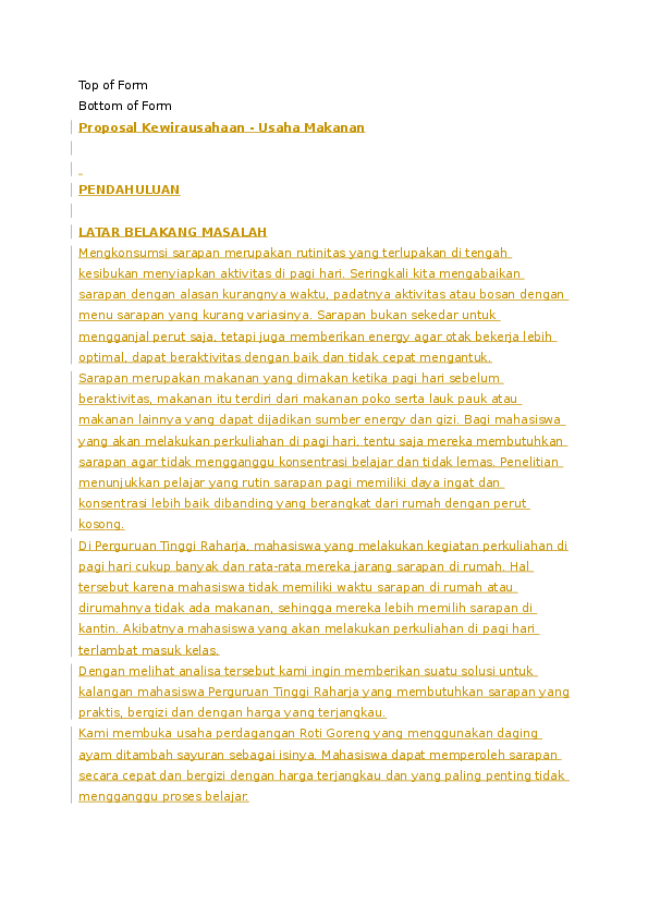 Doc Contoh Proposal Kewirausahaan Agus Gusriandi Academia Edu