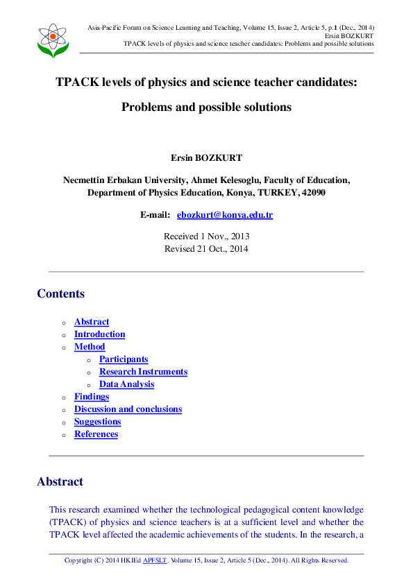 PDF) TPACK levels of physics and science teacher candidates