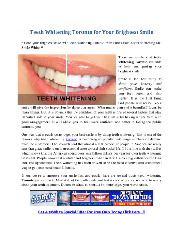 Pdf Teeth Whitening Toronto For Your Brightest Smile Grab Your