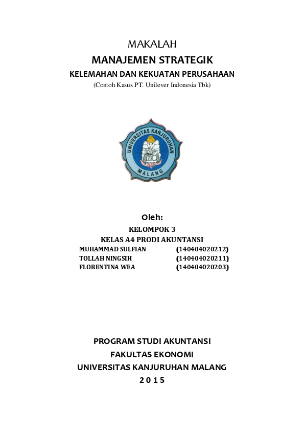 Pdf Makalah Manajemen Strategik Muh Sulfian Al Farabi Academia Edu