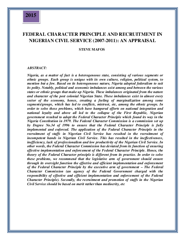 PDF) FEDERAL CHARACTER PRINCIPLE AND RECRUITMENT IN NIGERIAN