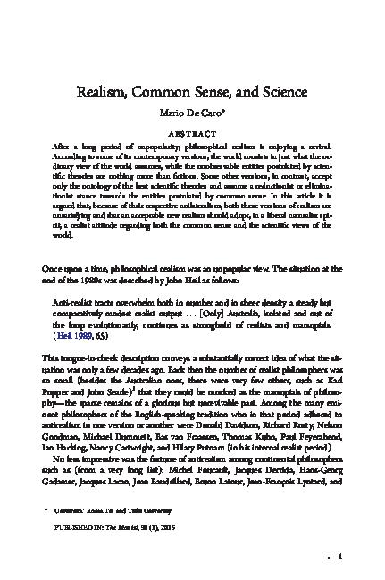 PDF) Realism, Common Sense, and Science | Mario DeCaro - Academia edu