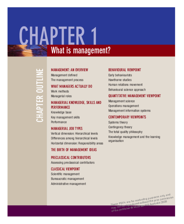 PDF) CHAPTER OUTLINE What is management? MANAGEMENT: AN