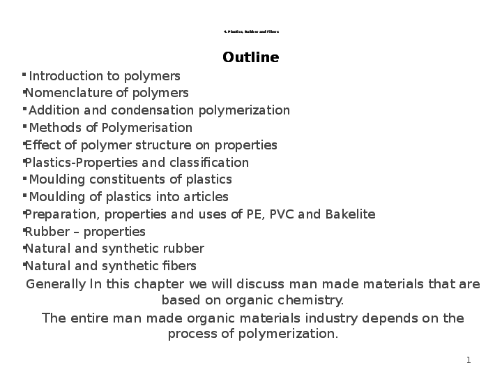 PPT) Plastics, Rubber and Fibers ( polymers) | Tamene