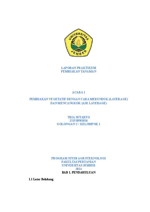 Doc Pembiakan Vegetatif Dengan Cara Merunduk Layerage Dan Mencangkok Air Layerage Tria Sutarto Academia Edu