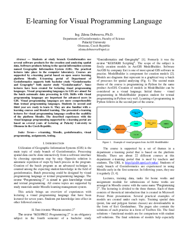 PDF) E-learning for Visual Programming Language | Zdena
