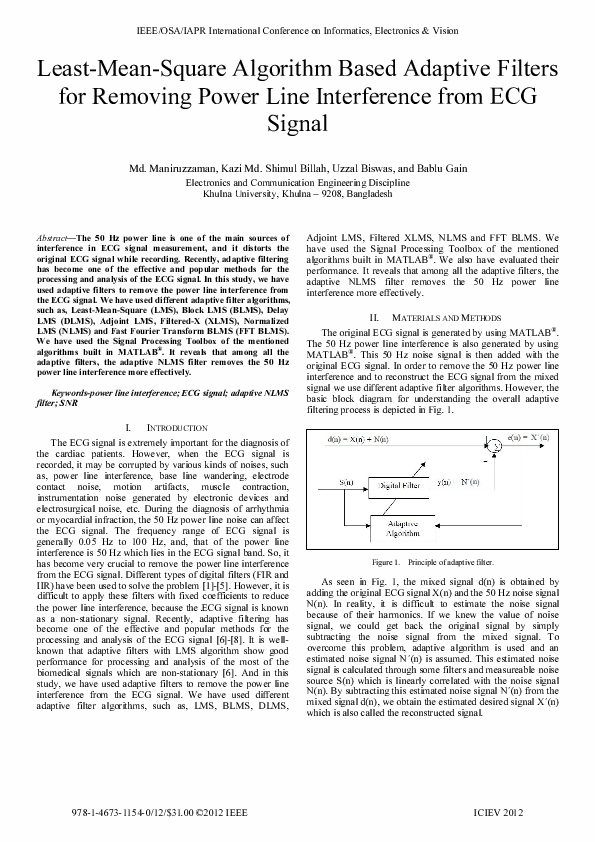 Least-Mean-Square Algorithm Based Adaptive Filters for