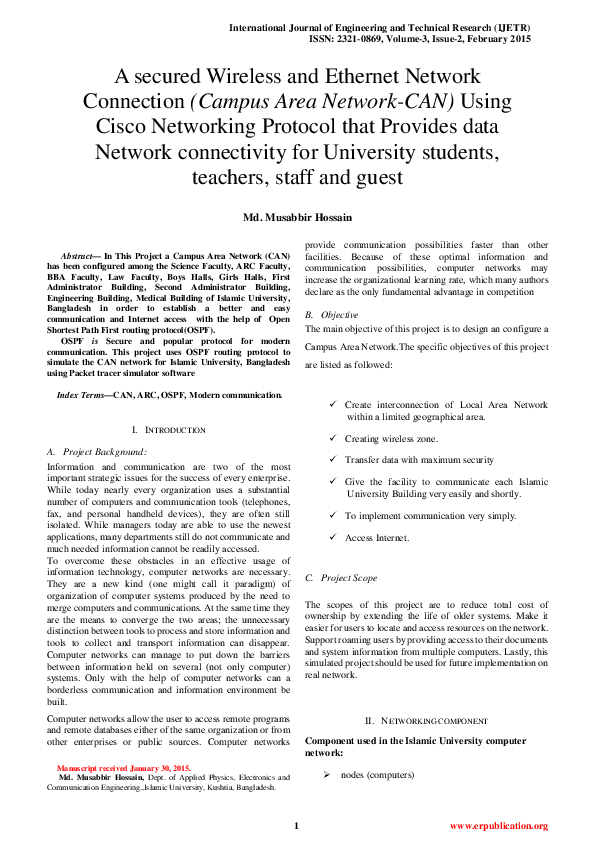 PDF) A secured Wireless and Ethernet Network Connection