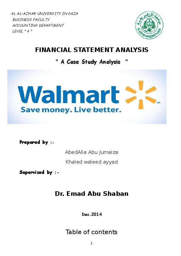 DOC) Financial statment analysis for walmart co | Khaled