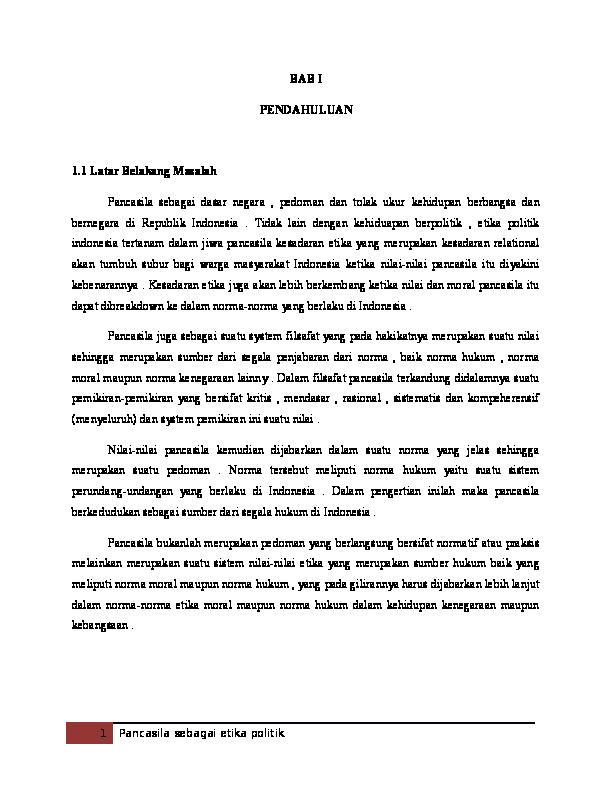 Pancasila Sebagai Etika Politik Erlina Widiya Academia Edu