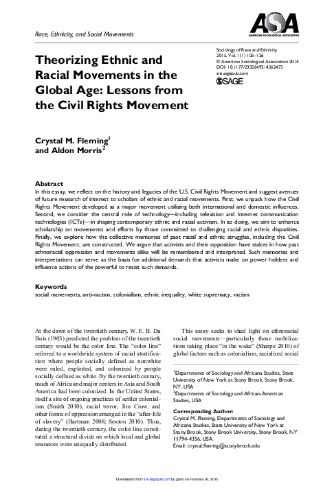 Theorizing Ethnic And Racial Movements In The Global Age Lessons