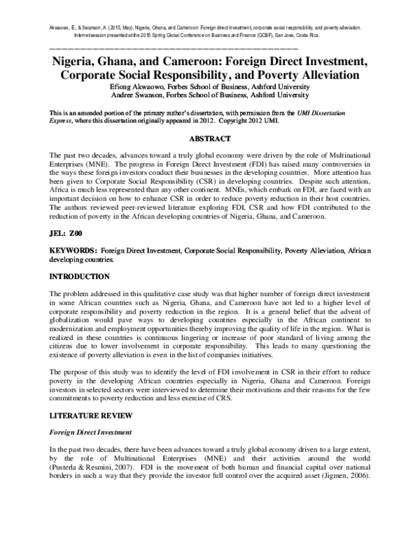 literature review of foreign direct investment in nigeria