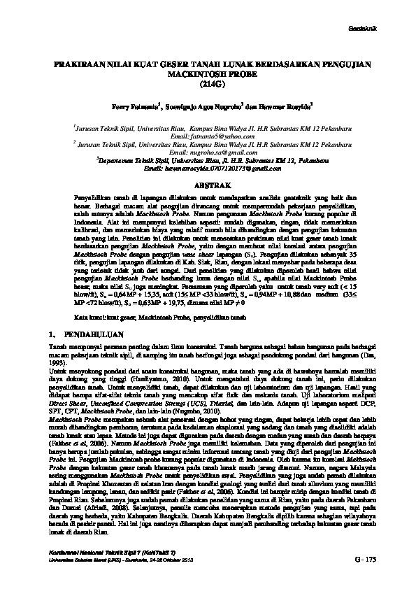 Pdf Prakiraan Nilai Kuat Geser Tanah Lunak Berdasarkan Pengujian Mackintosh Probe Soewignjo A Nugroho Academia Edu