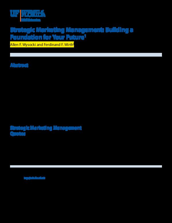 PDF) Strategic Marketing Management: Building a Foundation for Your