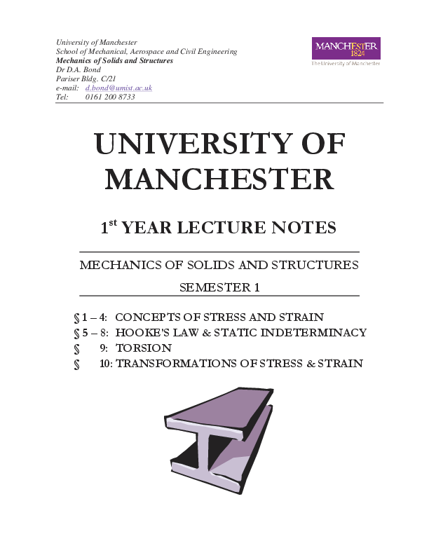 PDF) Mechanics of Solids and Structures 1st YEAR LECTURE