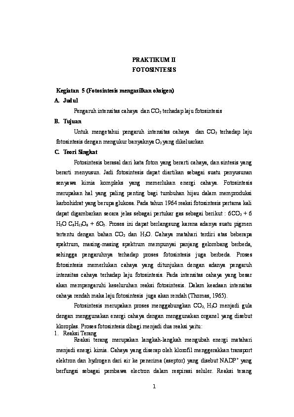 Doc Laporan Praktikum Fotosintesis Iskawaty Koem Academia Edu