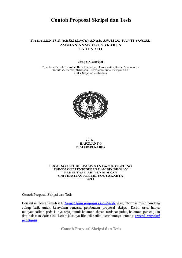 Doc Contoh Proposal Skripsi Dan Tesis Yusri Isal Academia Edu