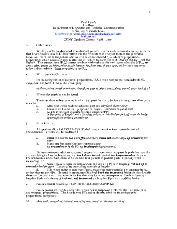 PDF) Particle paths (CUNY handout) | Haj Ross - Academia edu