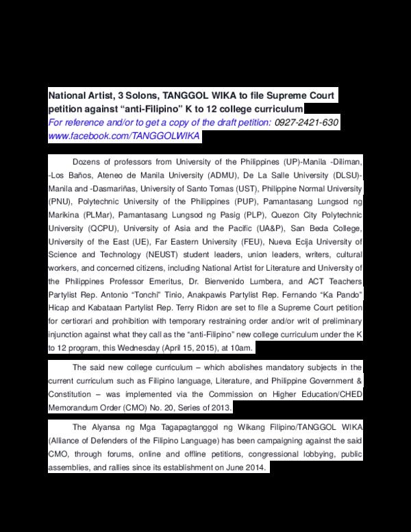 DOC) Tanggol Wika Press Release | David Michael San Juan - Academia edu