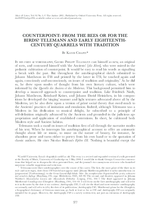 Pdf Counterpoint From The Bees Or For The Birds Telemann