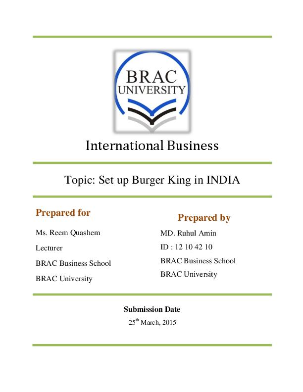 PDF) Franchising of Burger King in India | Ruhul Amin