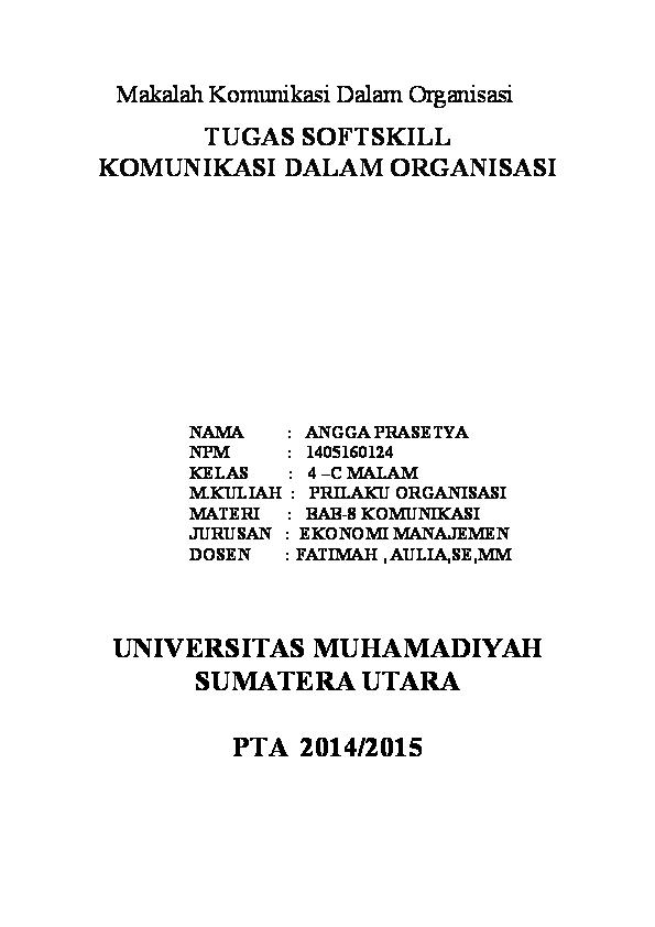 Doc Makalah Komunikasi Dalam Organisasi 2 Nitta Youmi Academia Edu