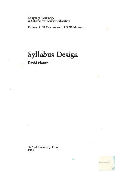 Pdf Syllabus Design By David Nunan Mansoor Ahmed Khan Academia Edu