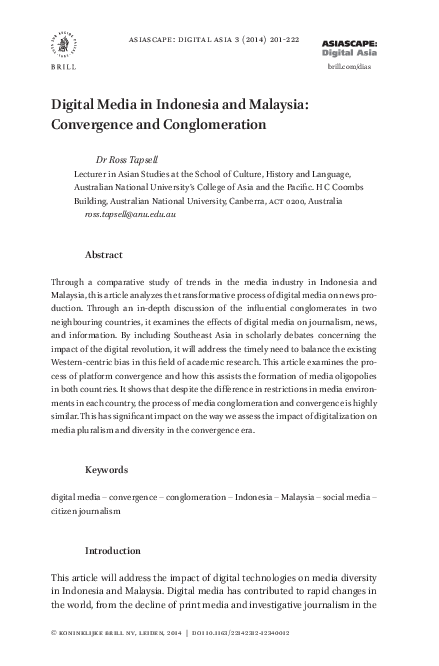 PDF) Digital media in Indonesia and Malaysia: Convergence