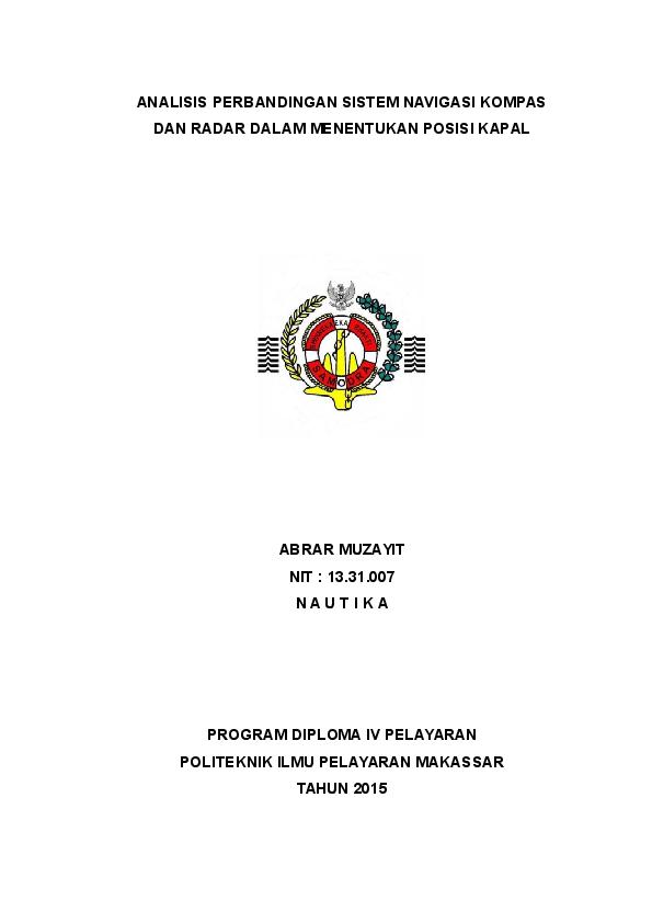 Politeknik Ilmu Pelayaran Makassar Nautika Academia Edu