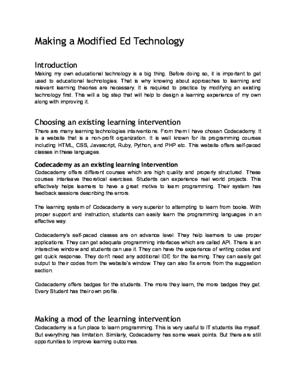 DOC) Making a Modified Ed Technology | Mainul Kabir Aion
