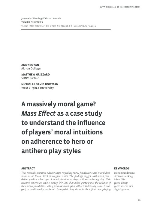 PDF) A massively moral game? Mass Effect as a case study to