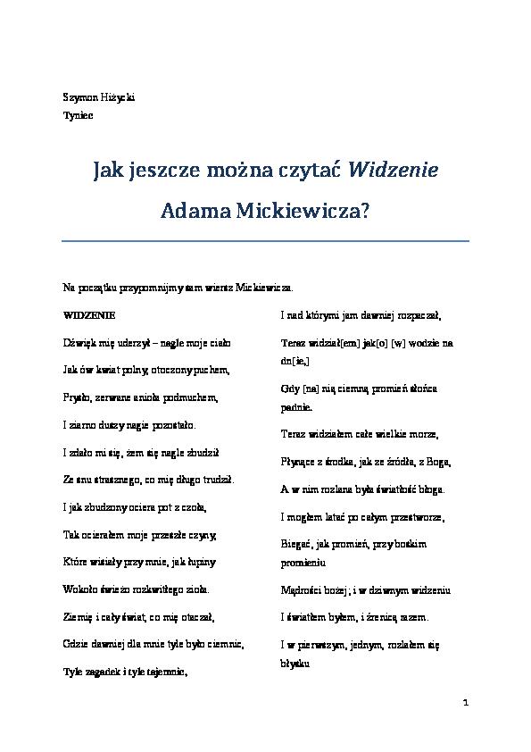 Pdf Sz Hiżycki Jak Jeszcze Można Czytać Widzenie Adama