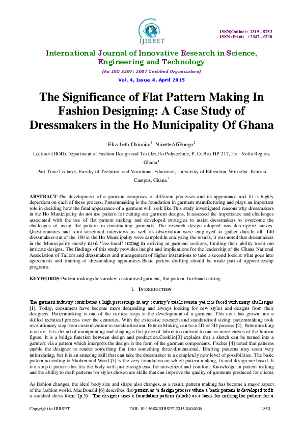 Pdf The Significance Of Flat Pattern Making In Fashion Designing Ninette Pongo And Elizabeth Obinnim Academia Edu