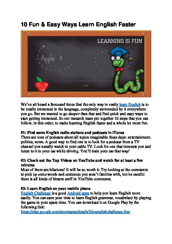 PDF) 10 Fun & Easy Ways Learn English Faster | Linh Nguyen