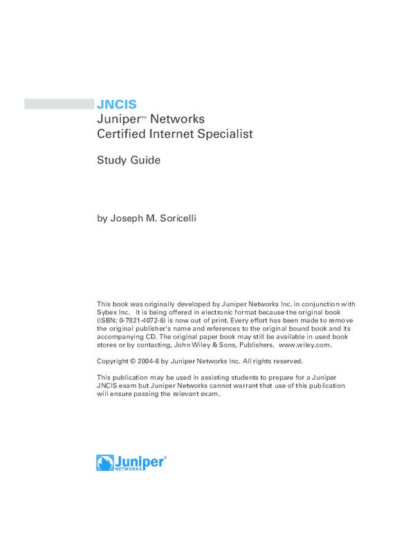 PDF) Juniper Networks - Certified Internet Specialist | Nova