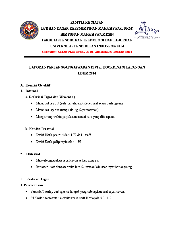 Doc Contoh Laporan Pertanggungjawaban Lpj Koordinasi Lapangan Korlap Tio Neji Academia Edu