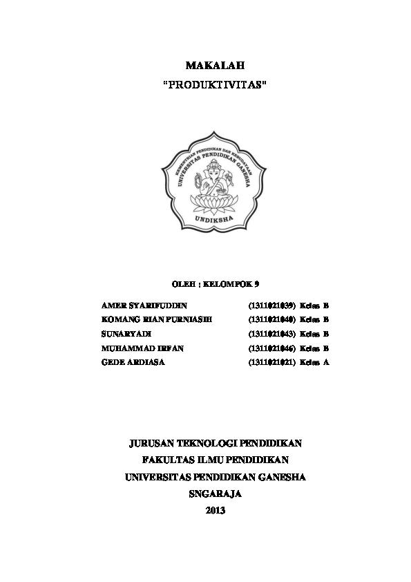Makalah Manajemen Sumber Daya Manusia Produktivitas Amer Syarifuddin Academia Edu