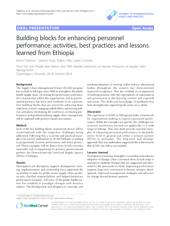PDF) Building Blocks for Enhancing Personnel Performance: Activities