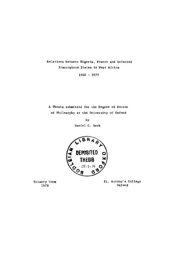PDF) Nigeria's relations with France and selected