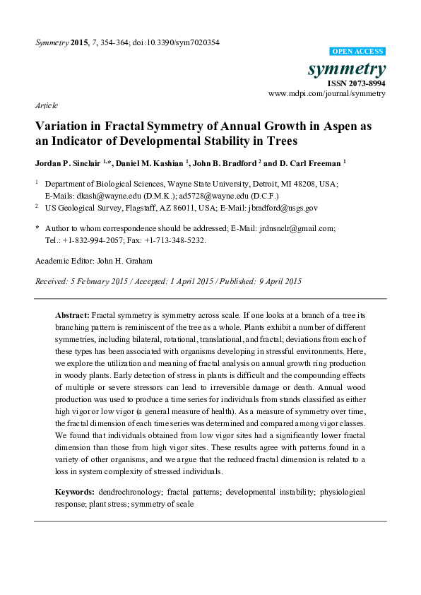Variation in fractal symmetry of annual growth in aspen as