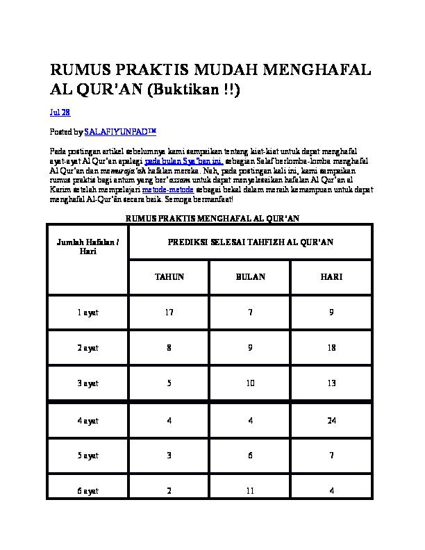 Doc Rumus Praktis Mudah Menghafal Al Quran Buktikan