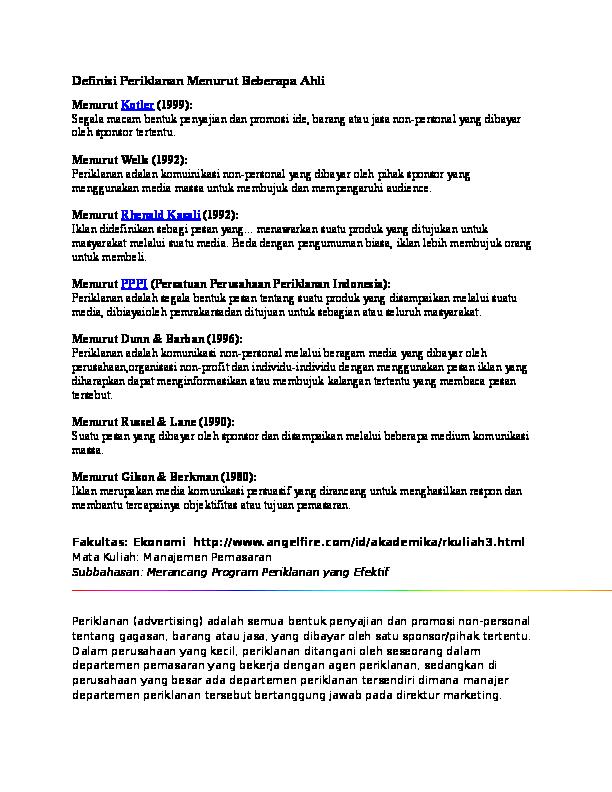 Doc Definisi Periklanan Menurut Beberapa Ahli Yusa Putra Academia Edu