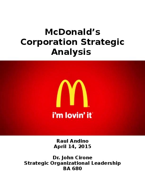 mcdonalds business strategy analysis