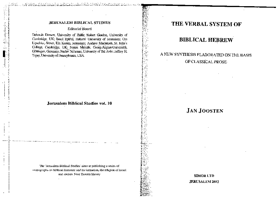 PDF) The Verbal System of Biblical Hebrew  A New Synthesis
