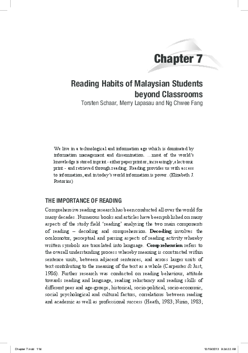 PDF) Reading Habits of Malaysian Students Beyond Classrooms