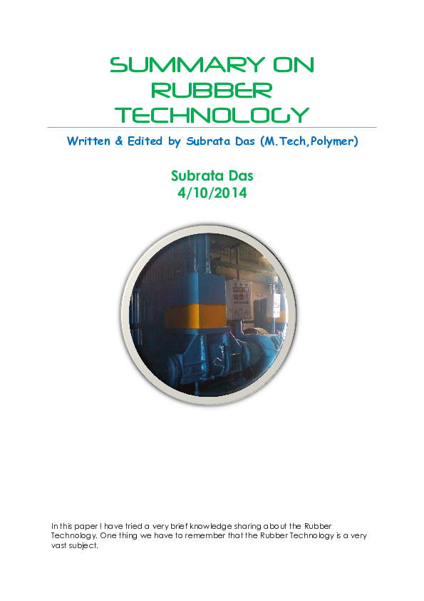 PDF) SUMMARY ON RUBBER TECHNOLOGY | Subrata Das - Academia edu