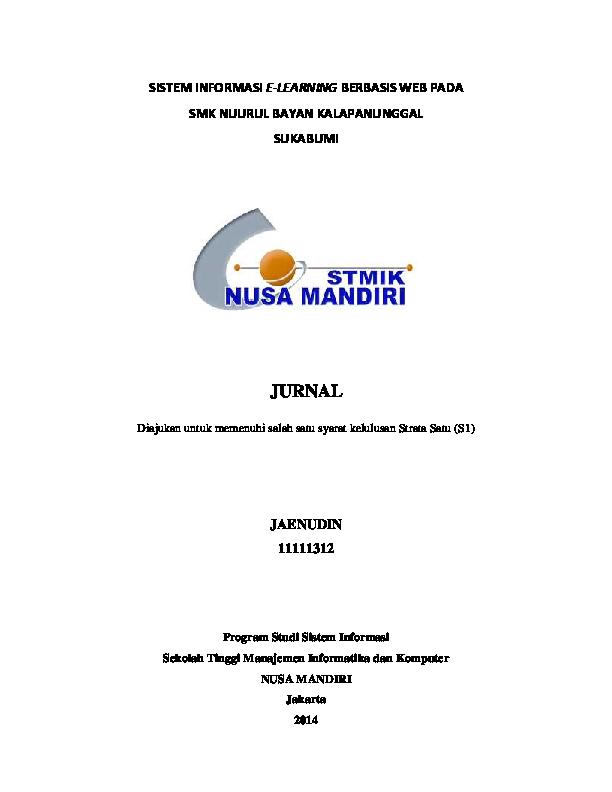 Pdf Outline Jurnal Nusa Mandiri Septian Eko Academia Edu